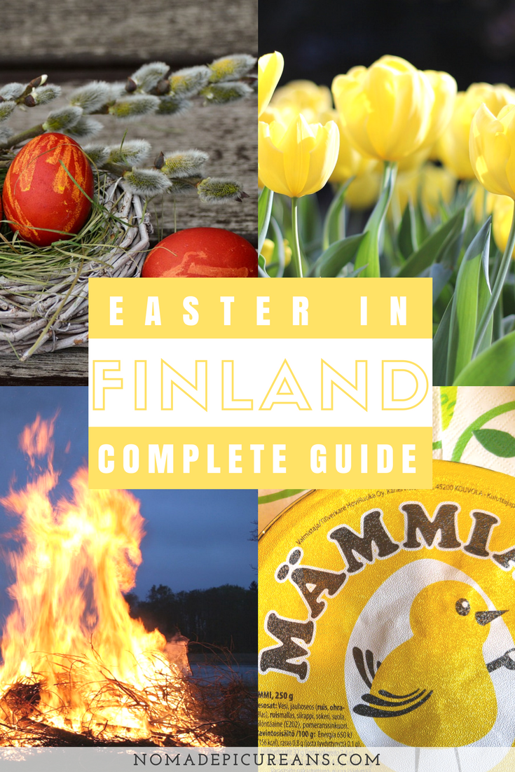 Going to celebrate Easter in Finland? Read our post to learn all about Finnish Easter. We have compiled information on Finnish Easter traditions and food. Ever wanted to know about Finnish Easter pudding or Finnish witches? We've also included some practical tips for you! #travel #finland #easter