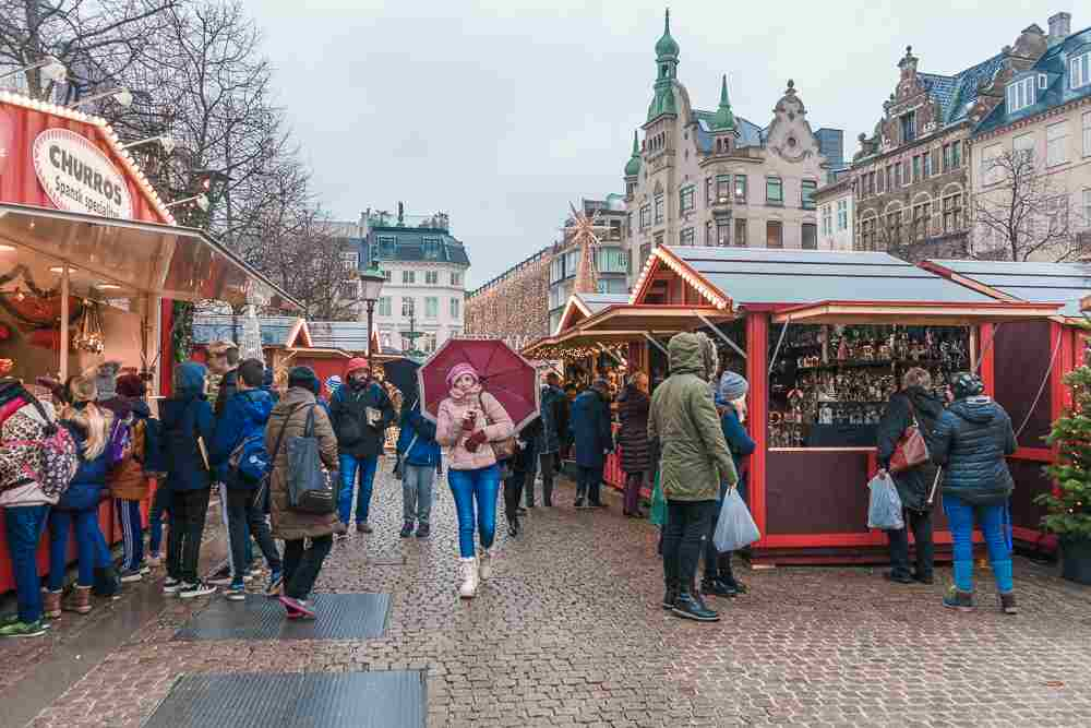 The Christmas market at Højbro Plads in Copenhagen offers international flair and traditional Christmas treats.