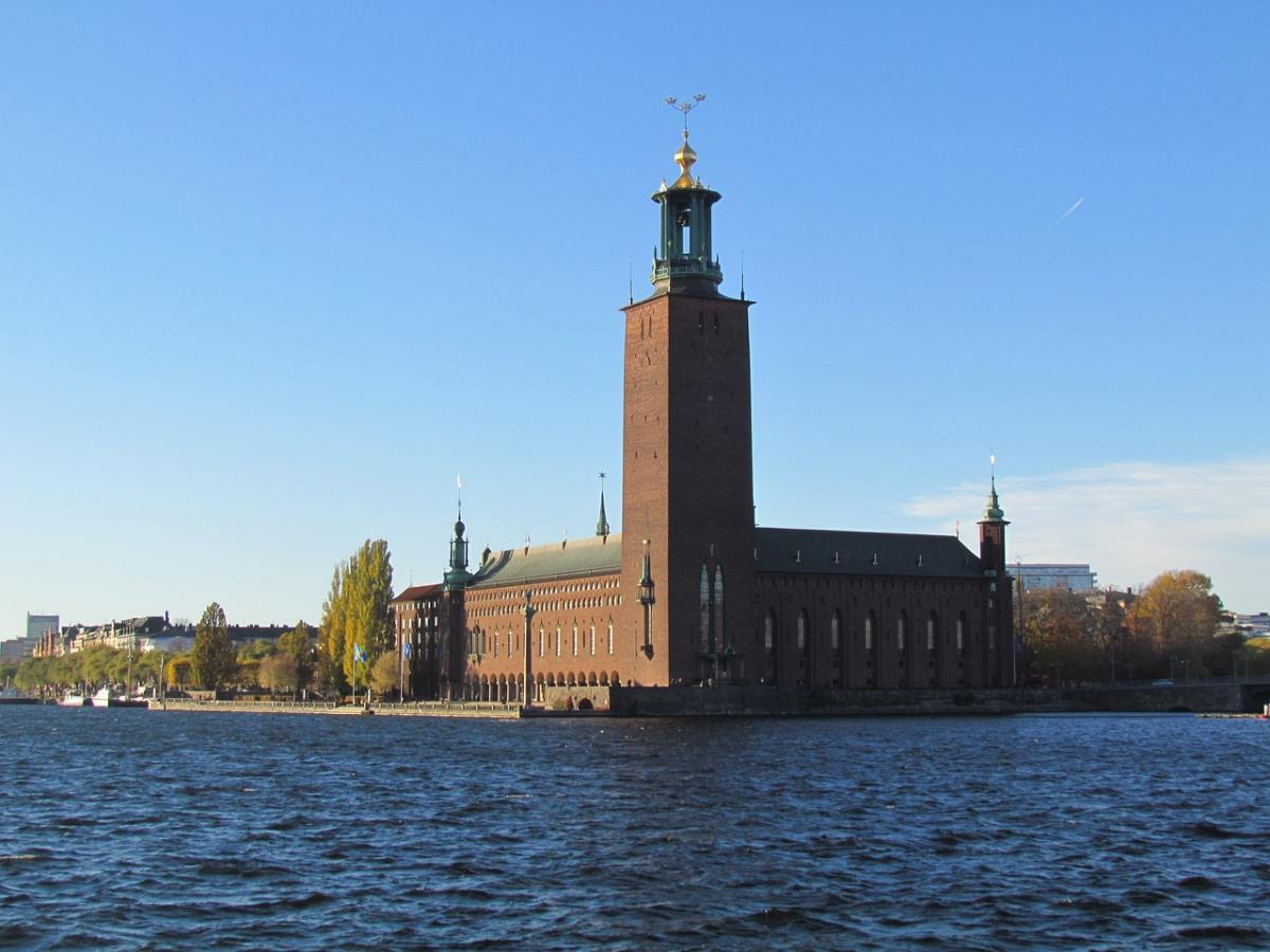 3 Days in Stockholm: View of Stockholm City Hall from the water.