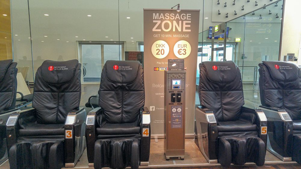 Relax at Copenhagen airport: Massage chairs are available at several locations in the airport.