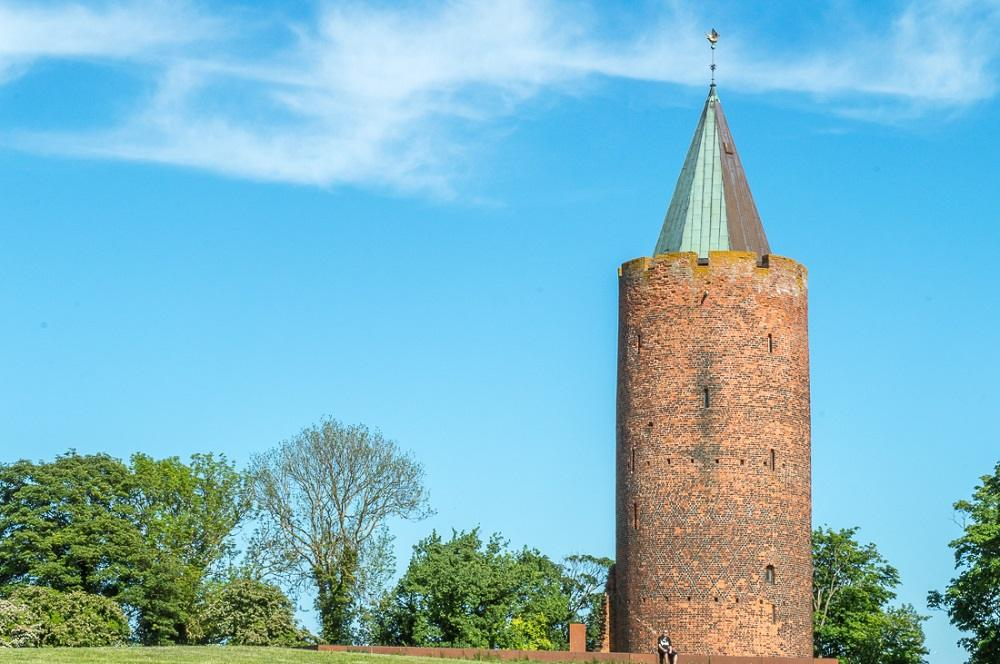 Cool castles to visit in Denmark: The goose tower at the Vordingborg Castle Ruins looks like straight out of a fairytale.