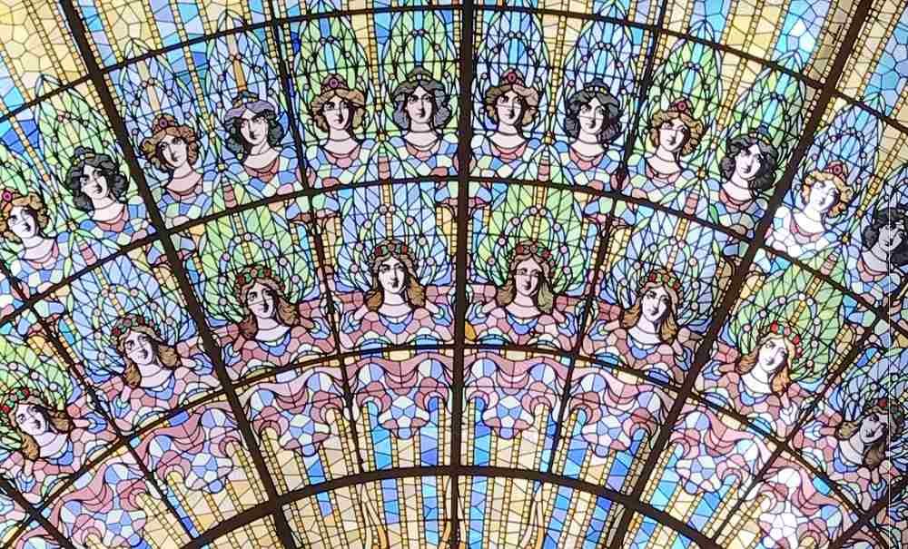 The skylight at Palau Palace highlights some of Art Nouveau's most important characteristics.