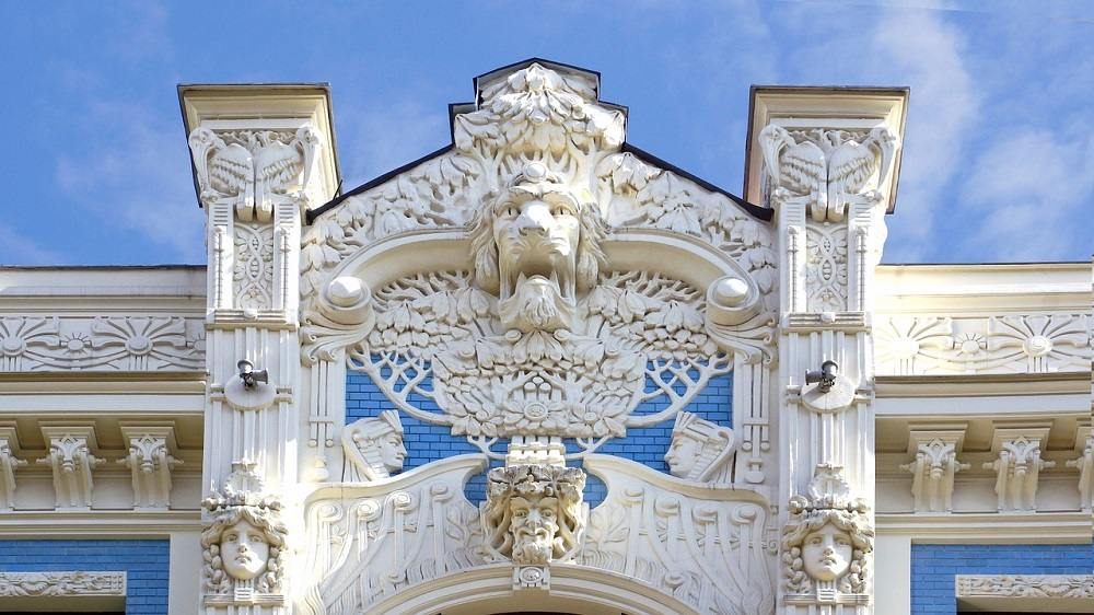 Rich ornamentation in atypical for Art Nouveau in Riga.
