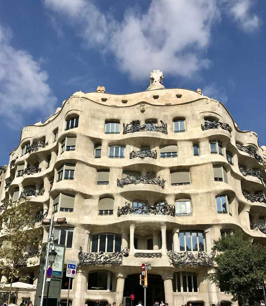 Casa Mila showcases a functionalist example of Gaudi buildings in Barcelona.