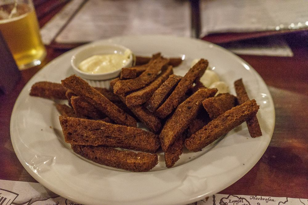 Fried bread is one oft the best foods to eat in Vilnius.