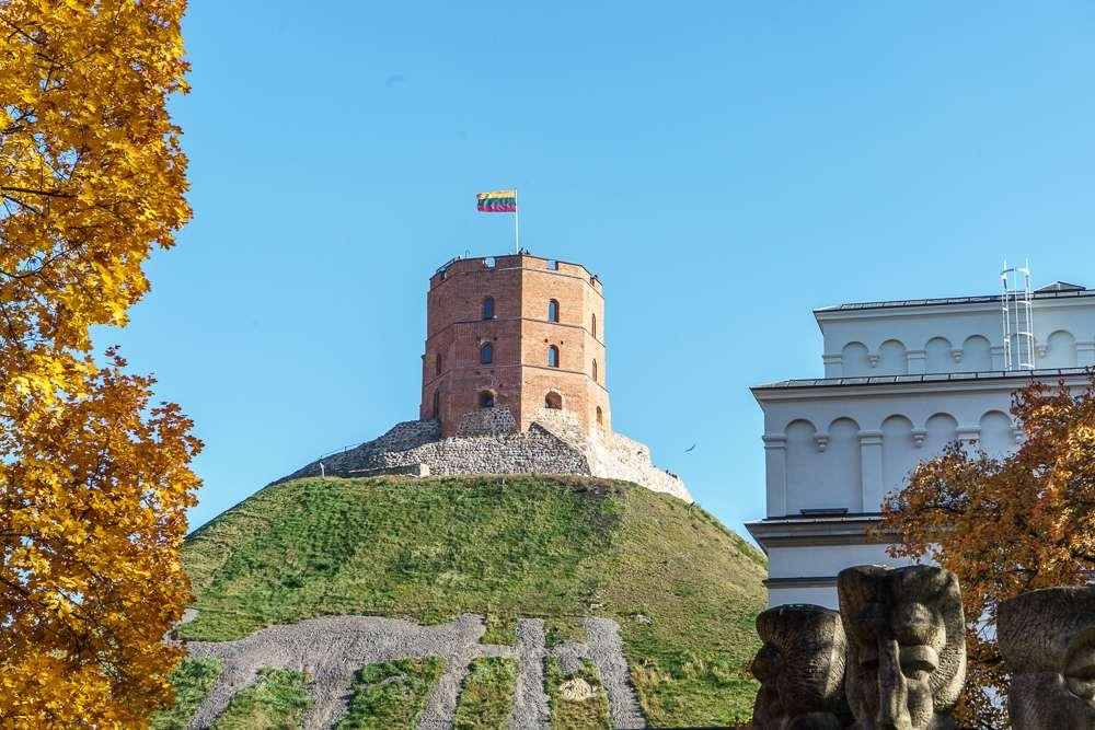 Gediminas Tower rises above Vilnius.
