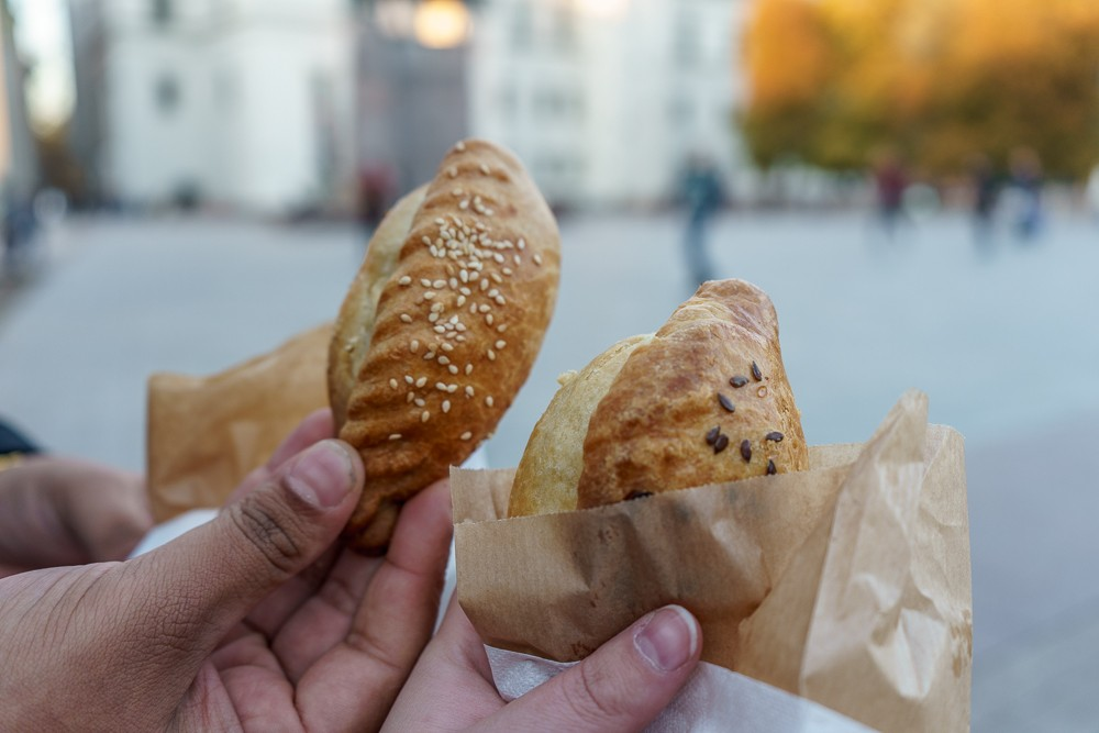 Kibinai are one of the best snacks to eat during sightseeing in Vilnius.