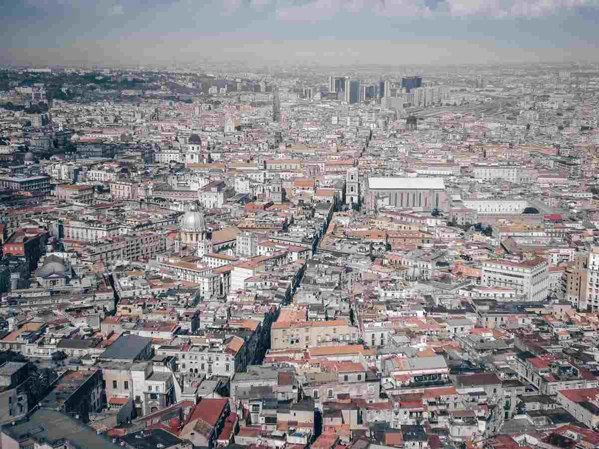 Naples: Panorama of the historic center of Naples with the business district in the background.