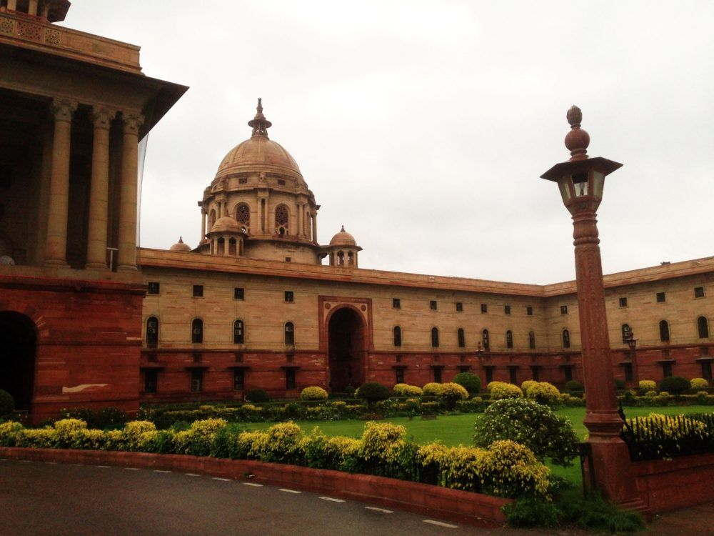 As it was part of the British Empire for a long time, a lot of British Colonial architecture can be found in India, such as in New Delhi.