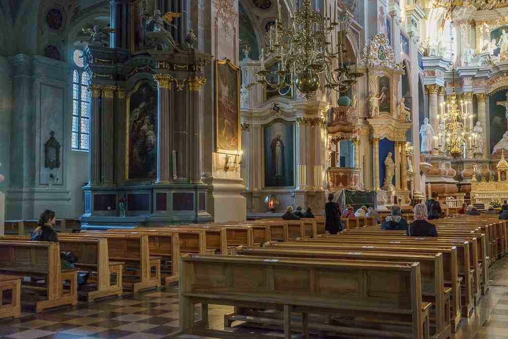 The interiors of Kaunas cathedral basilica are one of the best things to see in Kaunas.