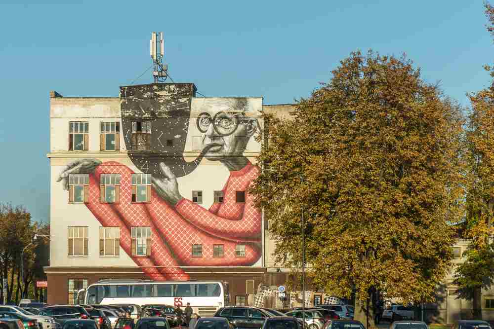 Don't miss the city's intriguing street art on your visit to Kaunas!
