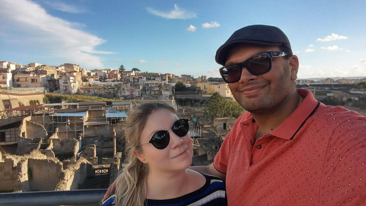 Jacky and Mihir on a day trip from Naples to Pompeii and Herculaneum.