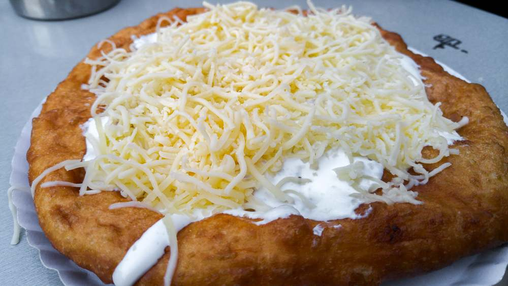 A langos can be eaten instead of a lunch during your day in Budapest.