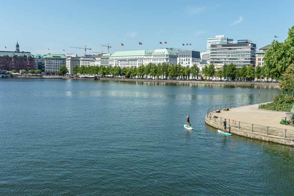 Take a stroll along Jungfernstieg during your day in Hamburg.