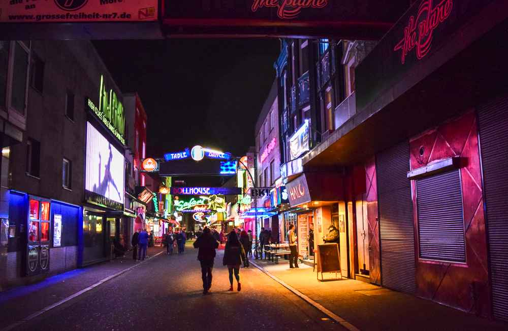 End your day in Hamburg with a visit to the infamous Reeperbahn.