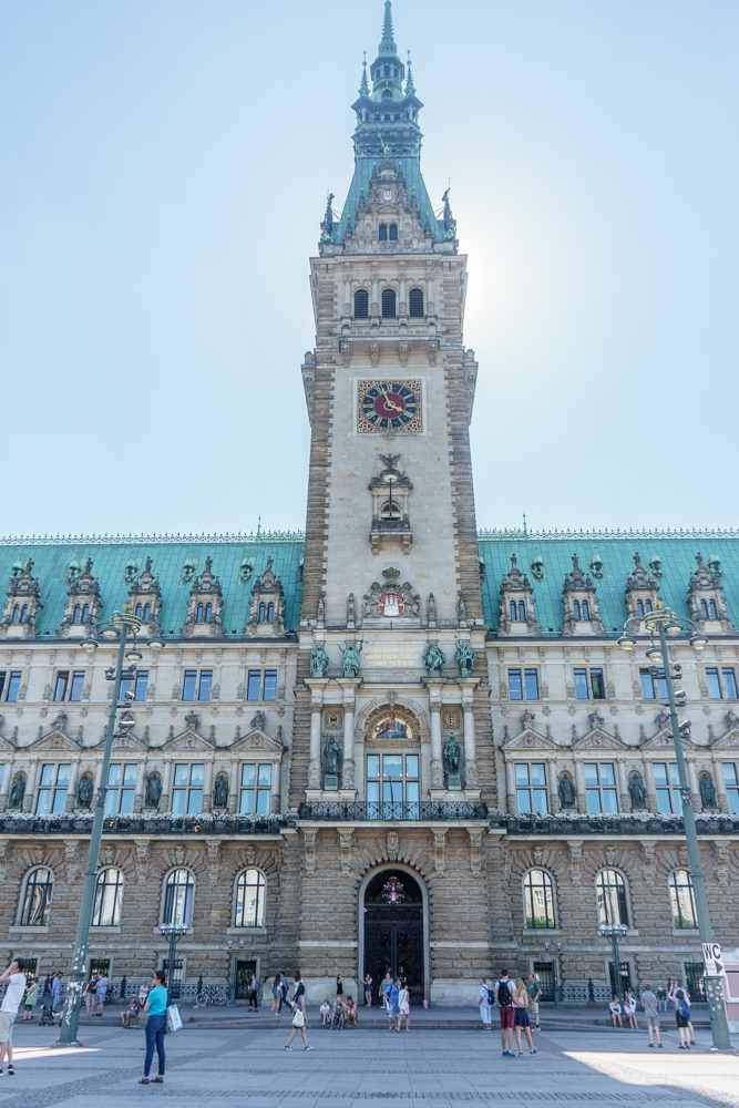 Make sure to stop by beautiful city hall during your 24 hours in Hamburg.
