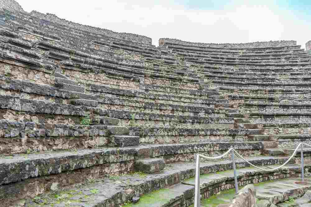 The theater is one of the first stops on any tour of Pompeii archaeological park.