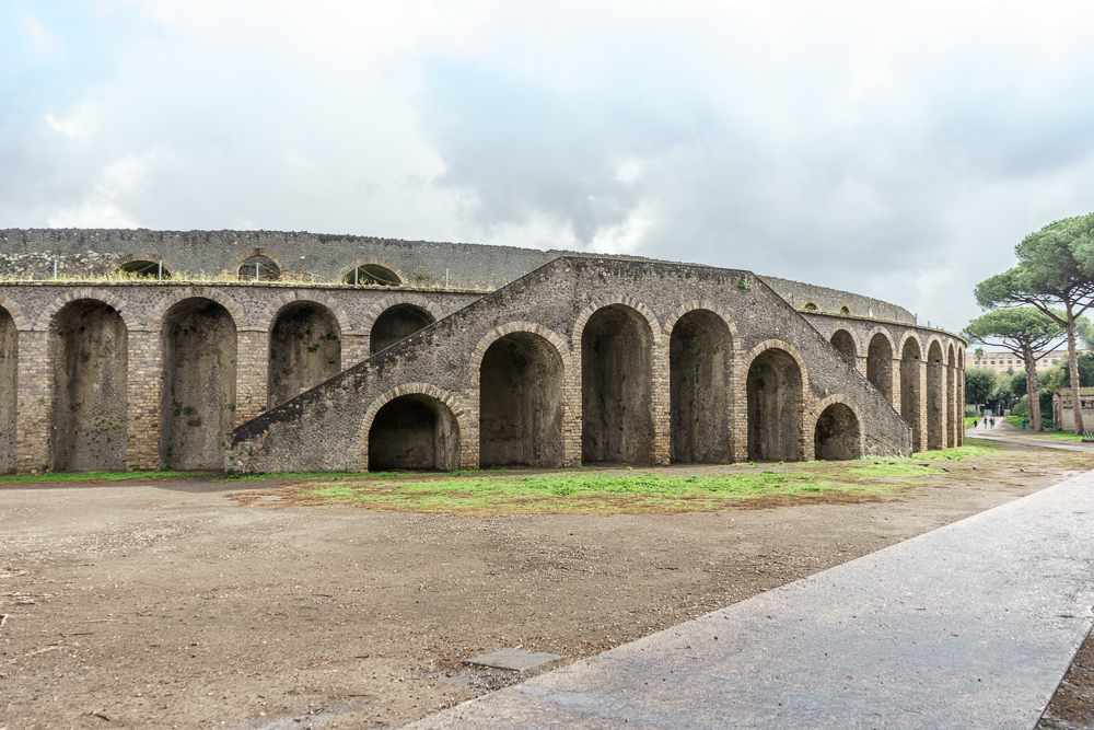 The amphitheater is rarely included in any tours of Pompeii and far from tourist crowds.