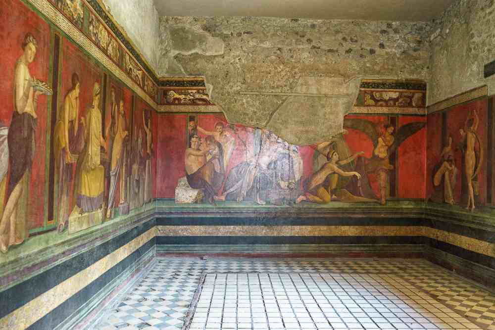 On your day trip from Naples to Pompeii make sure to see the Villa of the Mysteries.