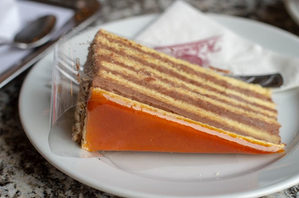 What to eat in Budapest: When spending 2 days in Budapest, you have to sample some delectable cakes and pastries like Dobos cake and Eszterházy cake at the famous Ruszwurm Confectionary.