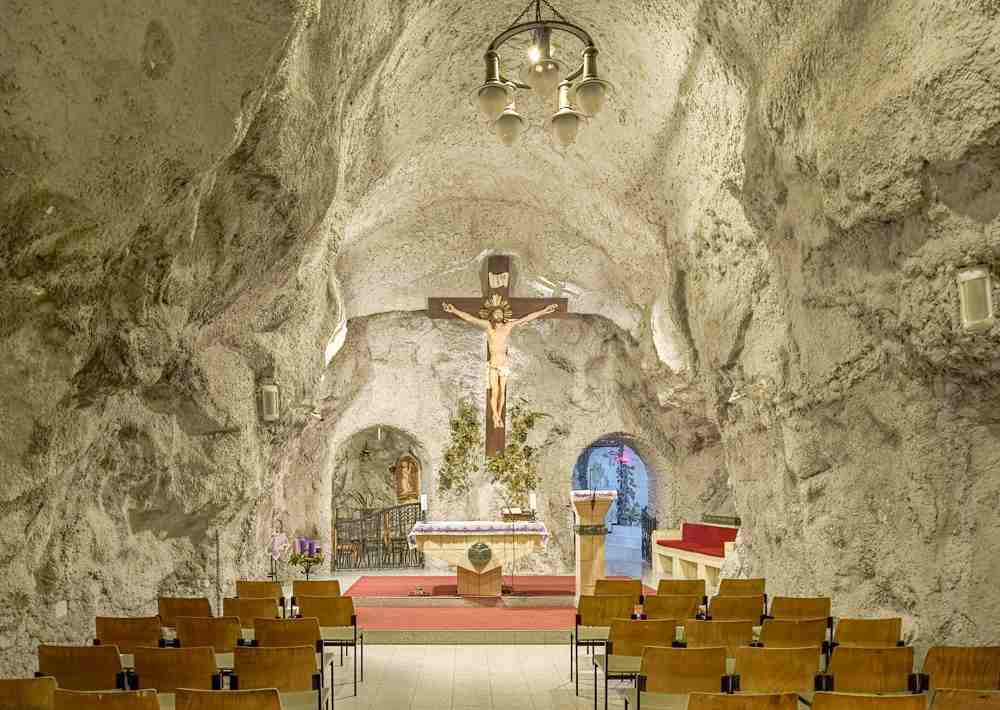 The unique Cave Church is one of the top sights if you're roaming Budapest in 2 days. C: Mikhail Markovskiy/shutterstock.com