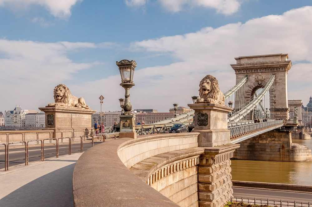 What to see in Budapest: The Szechenyi Chain Bridge is one of the best places to visit when spending 48 hours in Budapest.