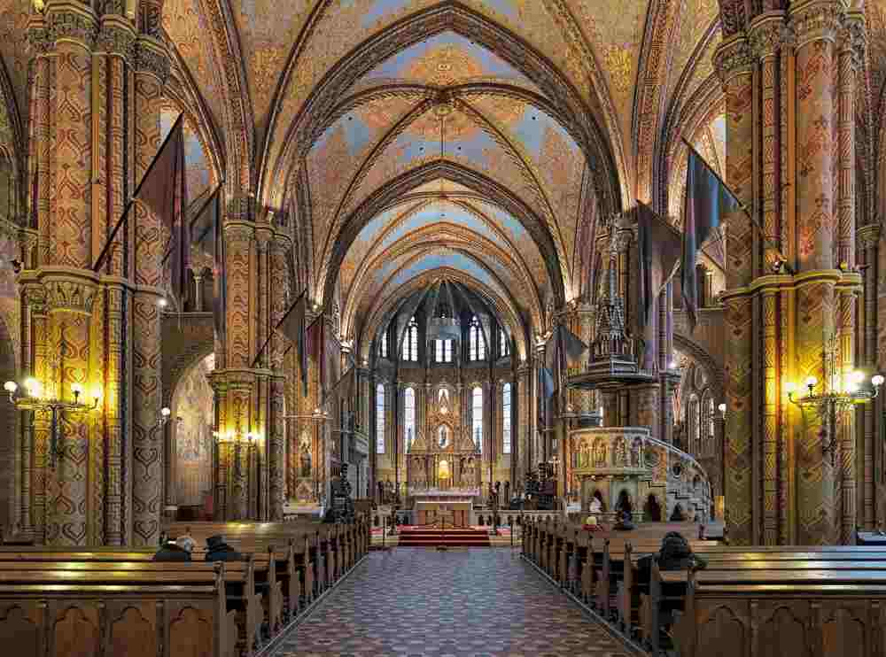 The beautiful interior of the Mattias Church is one of the top things to do while spending 2 days in Budapest. C: Mikhail Markovskiy/shutterstock.com