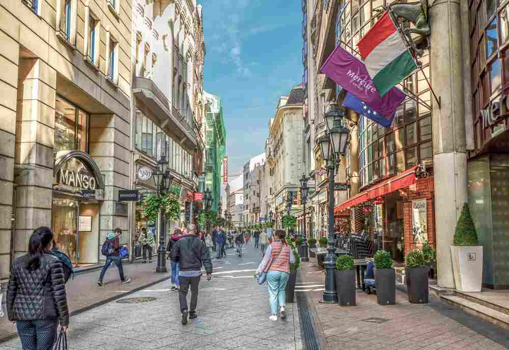Don't forget to visit the glitzy Vaci Street if you're spending 48 hours in Budapest. C: Kirk Fisher/shutterstock.com