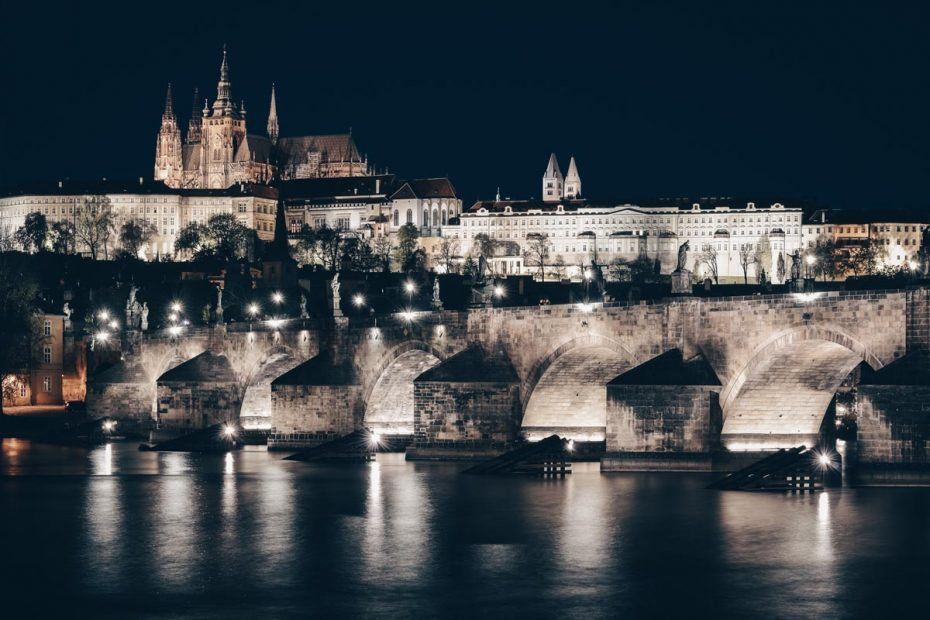 2 Days in Prague: View of the illuminated of Charles Bridge and Prague Castle at night