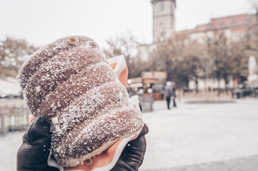 What to eat in Prague: Trdelnik is a spiral-shaped dough cake sprinkled with sugar and cinnamon.
