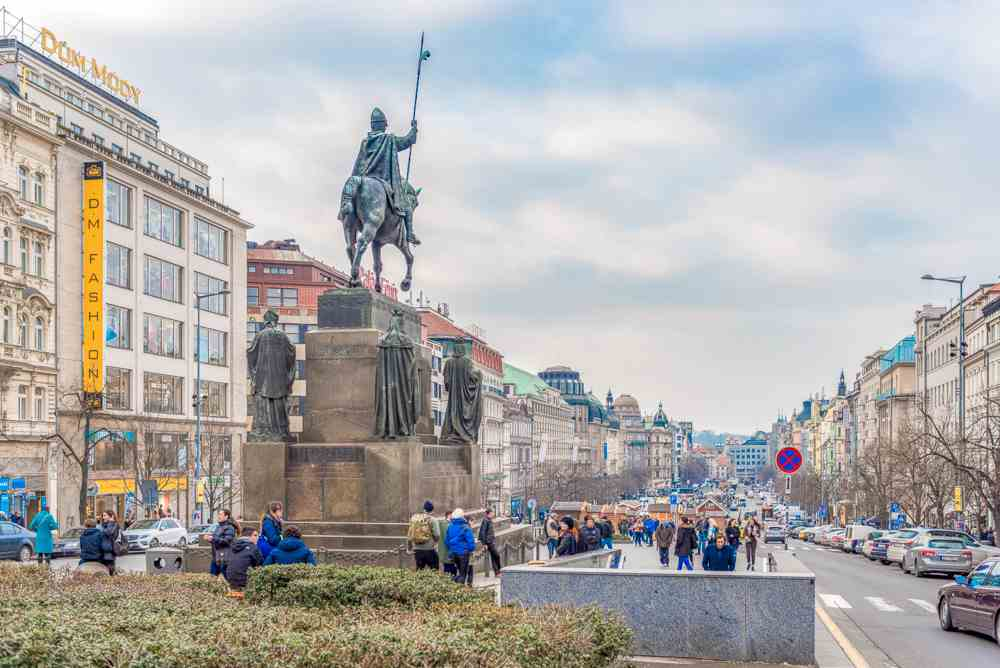 Wenceslas Square is a good place to hunt for beautiful architecture during your 2 days in Prague.