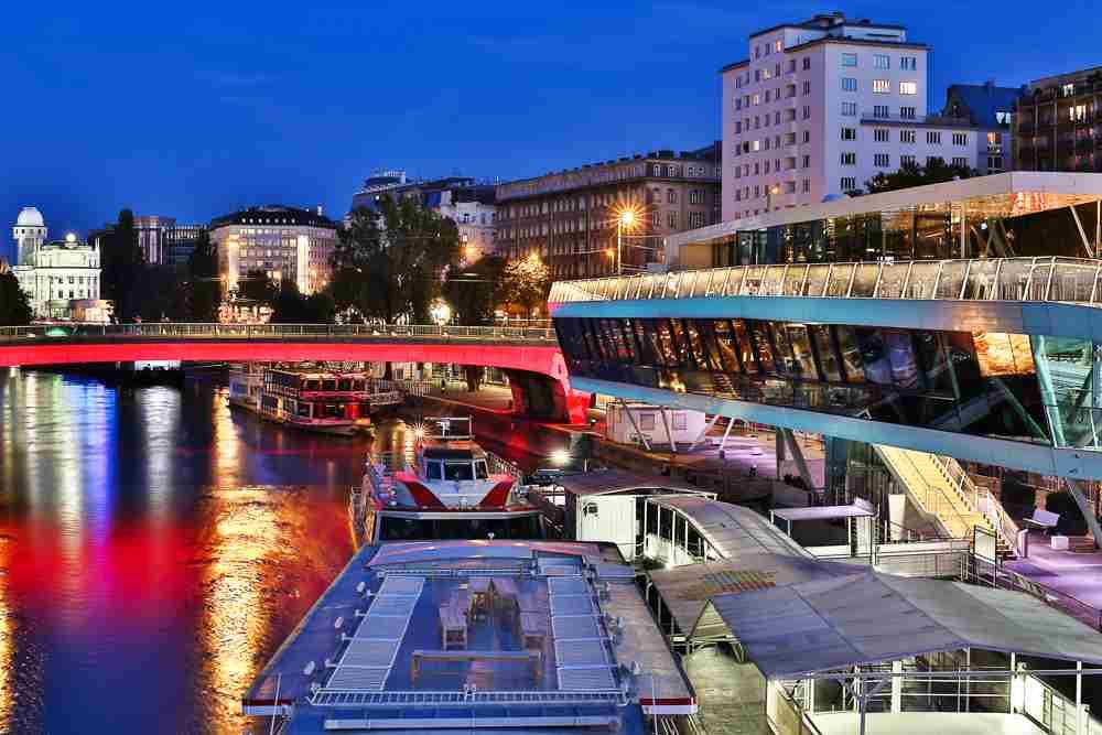 Finish off your day in Vienna with drinks at Schwedenplatz.