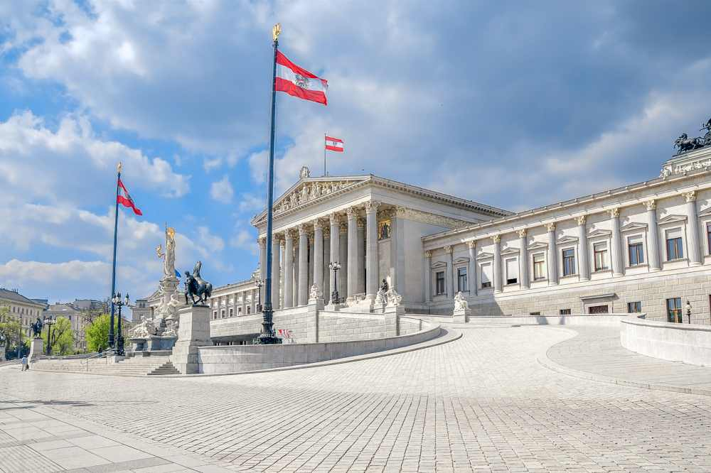 The Austrian Parliament Building is only one of many stops on this self-guided walking tour of Vienna.