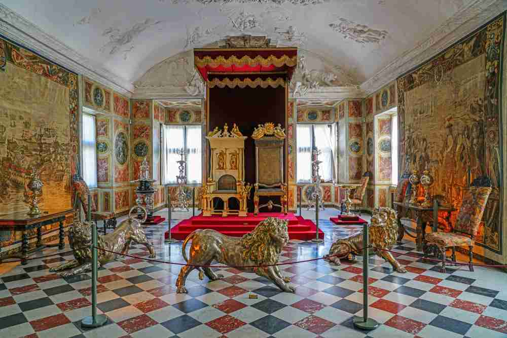 The Throne Room inside the Rosenborg Castle is one of the best things to see when spending 3 days in Copenhagen. C: EQRoy/shutterstock.com