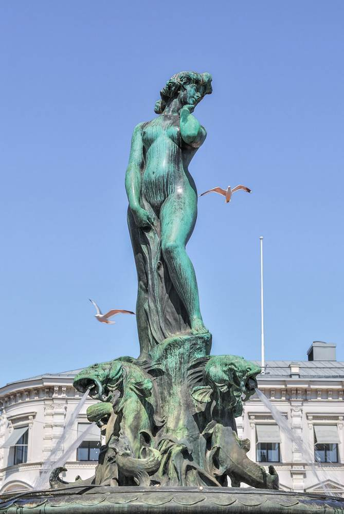 The iconic Havis Amanda statue is one of the main attractions that you'll pass on this free self-guided Helsinki walking tour.