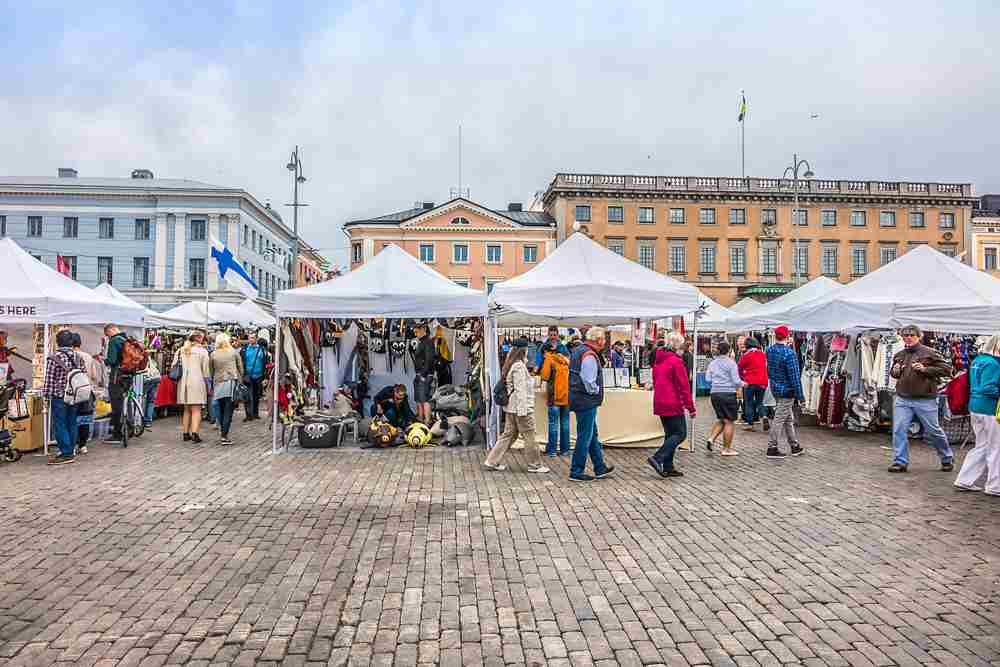 The centrally located Market Square is one of the best things to see on this free self-guided Helsinki walking tour. C: Kiev.Victor/shutterstock.com