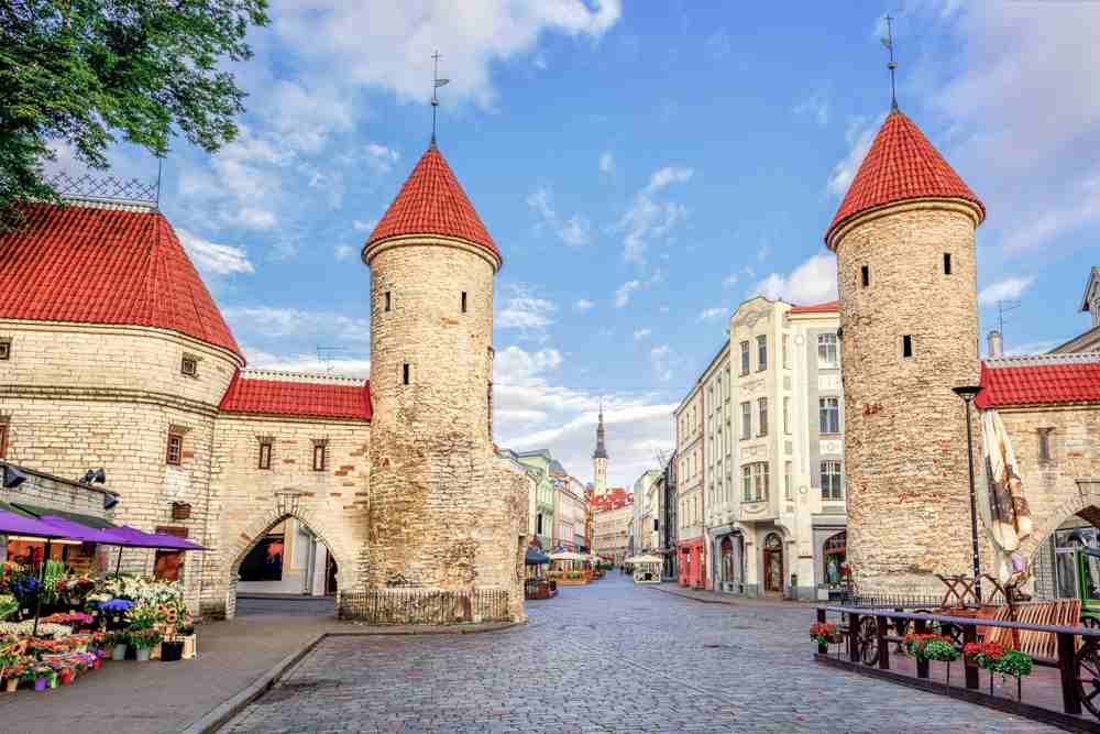The iconic Viru Gate is one of the main sightseeing attractions when visiting Tallinn on a day trip from Helsinki