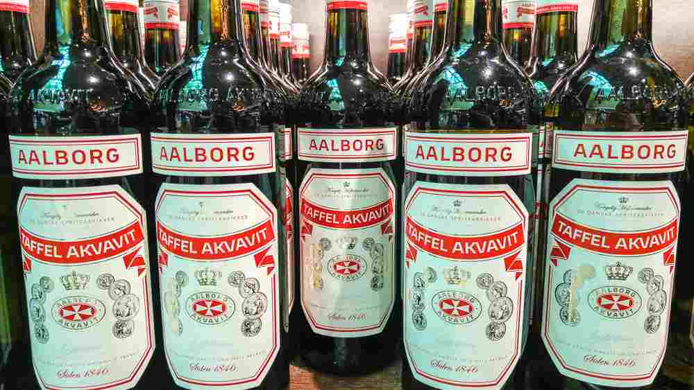 A bottle of traditional Danish akvavit is a perfect Copenhagen souvenir.