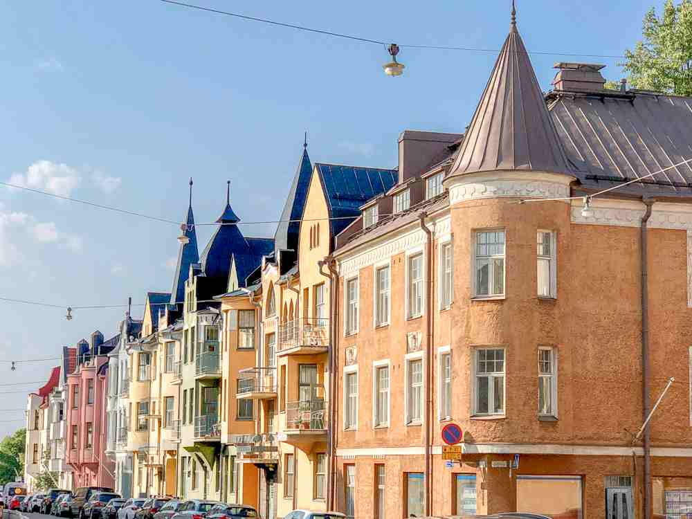 Best cities to see Art Nouveau architecture in Europe: The candy colored houses on Huvilakatu in Helsinki are some of the most beautiful examples of Art Nouveau architecture in Europe.