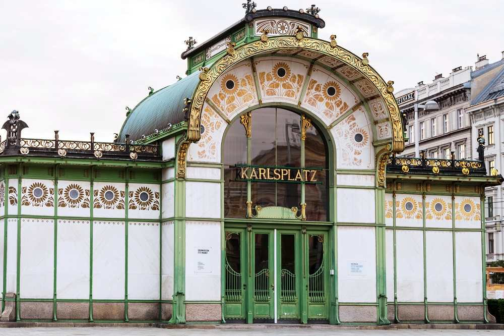 Best Cities for Art Nouveau architecture in Europe: The stunning Art Nouveau Karlsplatz station in Vienna is one of the best examples of Art Nouveau. C: vvoe/shutterstock.com