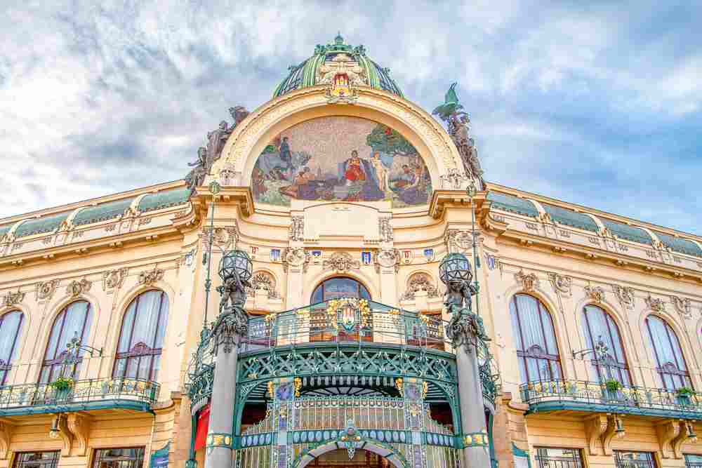 Best cities to see Art Nouveau architecture: The ornate Municipal House is one the most well-known Art Nouveau buildings.