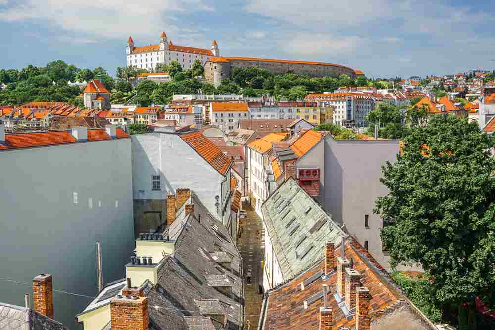Things to do in Bratislava: The viewing terrace of Michael's Gate offers stunning vista's of Bratislava and is one of the best places to visit while sightseeing in Bratislava