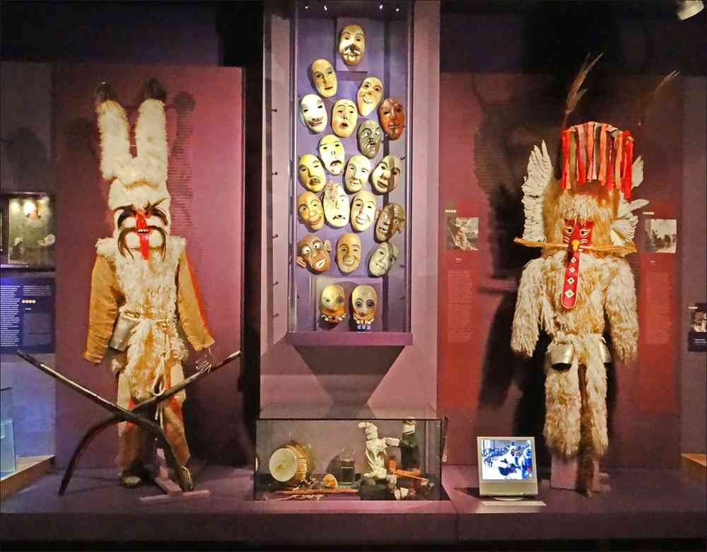Must-see attractions in Ljubljana: Don't forget to check out the quirky masks and other exhibits at the Slovene Ethnography Museum when sightseeing in Ljubljana for 1 or 2 days. Photo Credit: dalbera from Paris, France, Musée dethnographie slovène (Ljubljana) (9429469200), [CC BY 2.0 (https://creativecommons.org/licenses/by/2.0)], via Wikimedia Commons.