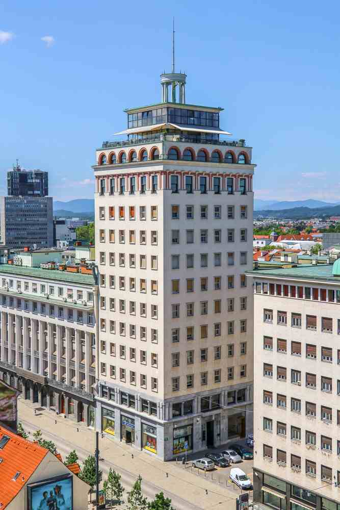 Best things to do in Ljubljana: Neboticnik is an iconic skyscraper that is one of the must-see attractions when spending 24 hours in Ljubljana.