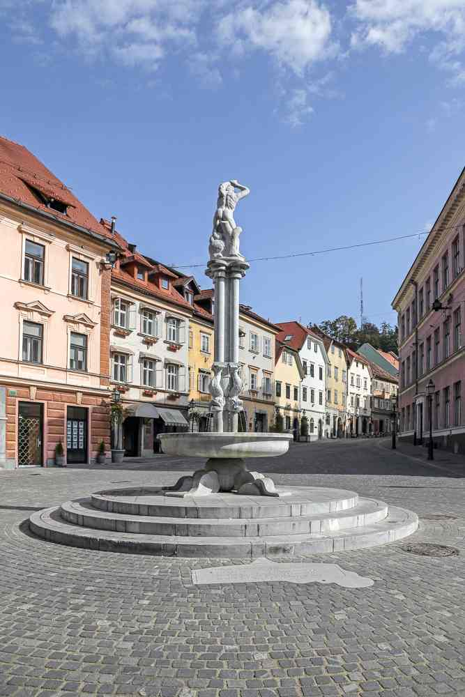 One day in Ljubljana: The Robba fountain at Gornji Trg Square in the Old Town is one of the best things to see in Ljubljana.