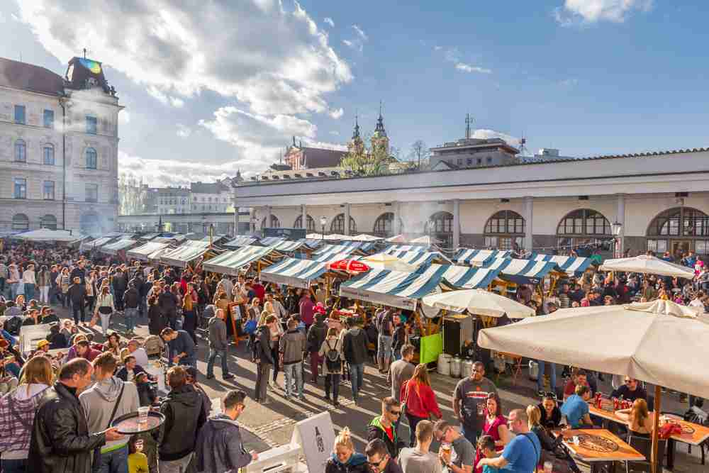 What to do in Ljubljana: The bustling Open Market is one of the best places to visit in Ljubljana. C: Matej Kastelic/shutterstock.com