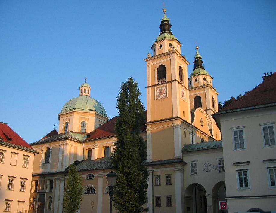 Things to do in Ljubljana: The impressive towers of the St. Nicholas's Cathedral are an unmissable sight in Ljubljana.