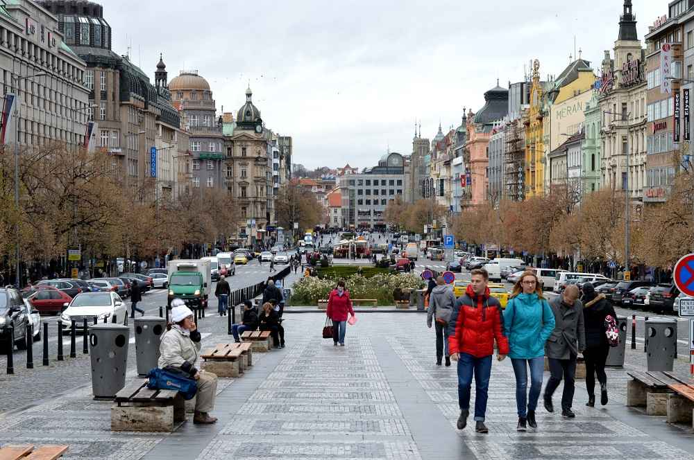 The bustling Wenceslas Square is one of the best things to see when sightseeing for one day in Prague.