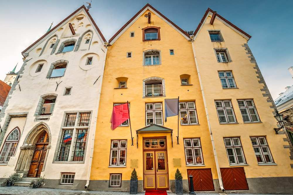 The elegant facades of the famous Three Sisters in Tallinn is one of the top things to see when visiting Tallinn for one day on a day trip from Helsinki