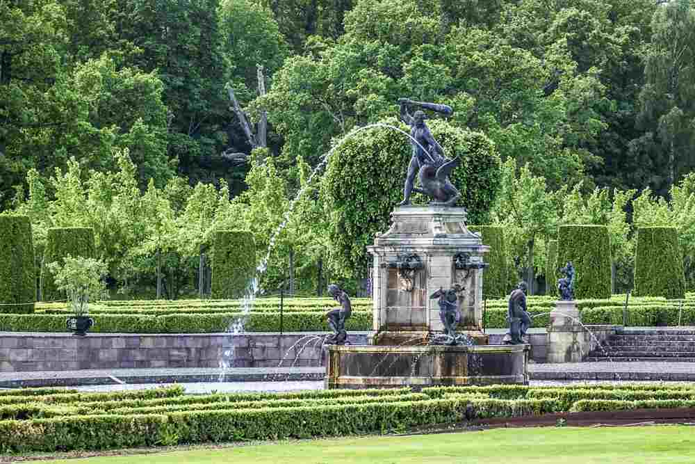 Day Trip from Stockholm: The well manicured garden at Drottningholm Palace features sculptures, a maze and a Chinese pavilion. A visit here is one of the best things to do when spending 72 hours in Stockholm.